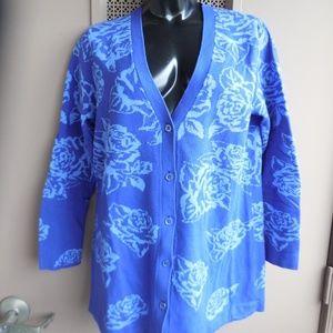 Isaac Mizrahi Live Floral Cardigan Sweater Purple